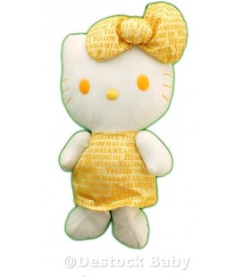 Peluche doudou HELLO KITTY - Noeud robe jaune doré - 38 cm
