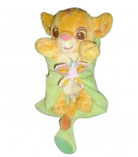 Doudou peluche Simba Le Roi Lion couverture feuille verte Disneyland