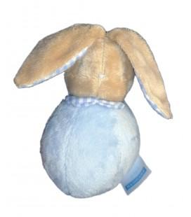 Doudou petit LAPIN bleu Culbuto Grelot Bébé Laboratoires KLORANE 15 cm Col vichy