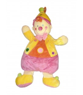 Doudou peluche RANGE PYJAMA Clown rose jaune - NICOTOY - H 65 cm