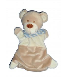 Doudou Marionnette OURS beige Echarpe rayures bleues - POMMETTE