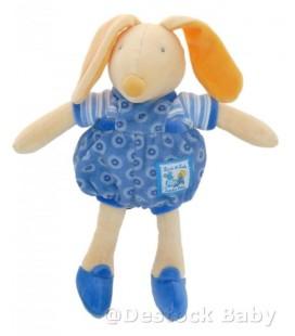Doudou Lapin Souris MOULIN ROTY - Lise et Lulu bleu jaune 28 cm