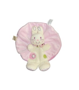 Doudou plat rond CHAT rose blanc NICOTOY