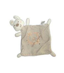 Doudou plat LAPIN blanc rayures - Canary Baby - Vêtir