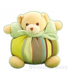 Doudou OURS beige vert boule rayures Echarpe verte NOUNOURS - 23 cm