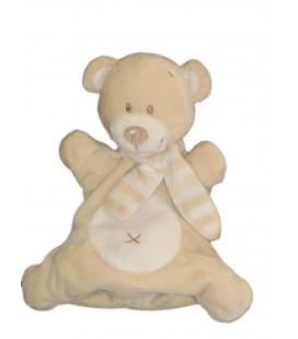 Doudou marionnette OURS beige Echarpe rayée POMMETTE