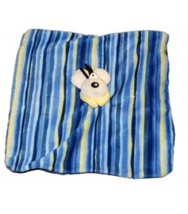 Doudou plat DIDDL - Bleu jaune Rayé - Carré 20 cm