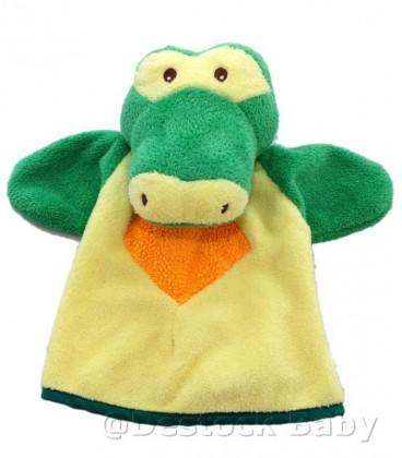 Doudou Marionnette CROCODILE jaune vert - NOUNOURS - Grelot - 20 cm