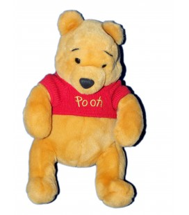 Doudou peluche WINNIE The Pooh Disney Store - Disneyland - Pull tricot rouge - H 32 cm