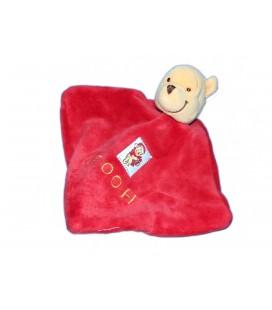 Petit Doudou plat WINNIE rouge - Pooh - Cadeau - Disney 14 cm