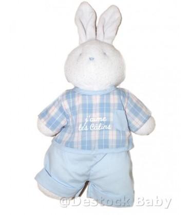KLORANE Doudou lapin Blanc Bleu J aime les Calins - 35 cm