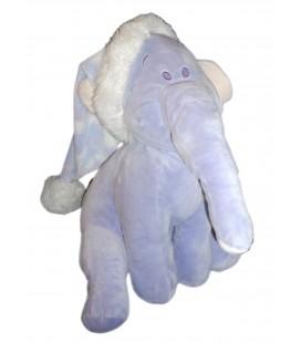 Grande peluche doudou - 46 cm - Efelant Elephant mauve Lumpy - Disney Nicotoy - Bonnet Hiver Noël