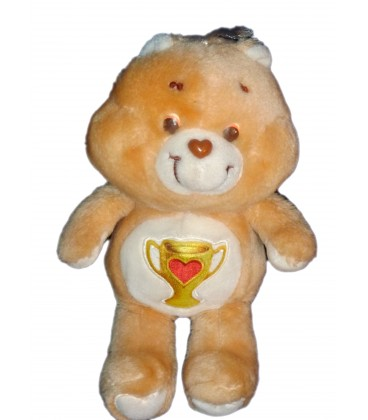 VINTAGE - Peluche BISOUNOURS Care Bear Plush - Groschampion Champ Bear Coupe - H 34 CM KENNER