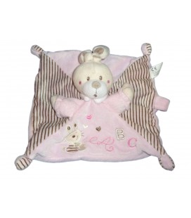 Doudou Lapin plat rose NICOTOY ABC attache sucette 579/6875