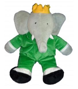 Peluche Doudou Elephant BABAR Gris vert LANSAY 38 cm Poche sous le ventre