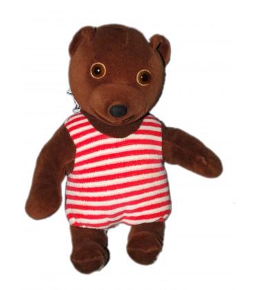 doudou peluche petit ours brun 24 cm ajena nounours pomme dapi bayard 1988 - Petit Nounours