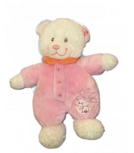 Doudou ours blanc Combinaison rose Tex Baby Oiseau Fleur 26 cm