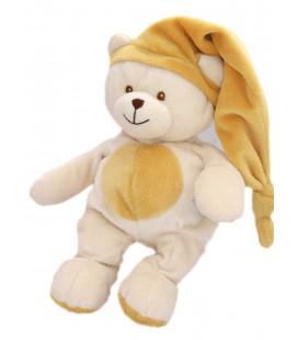 Doudou peluche blanc beige orangé - GIPSY - H 26 cm