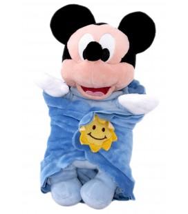 Doudou Peluche Mickey Couverture - Soleil - Disneyland Paris - Grelot - H 30 cm