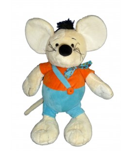 Doudou peluche SOURIS bleu orange ALTHANS CLUB 40 cm NEUF