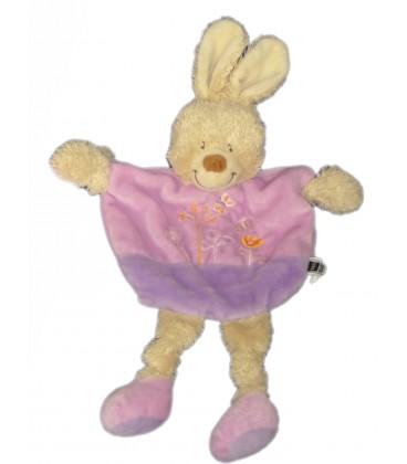 Doudou plat LAPIN Mauve Violet TEX Baby Carrefour Fleurs brodees