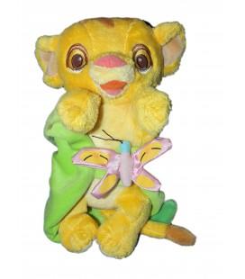 Doudou peluche Simba LE ROI LION couverture feuille verte Disneyland Resort Disney