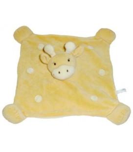 Doudou plat carré GIRaFE / Vache jaune Ronds blancs écru aLTHaNS CLUB