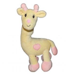 Doudou Girafe Arthur et Lola jaune beige Coeur rose Grelot 32 cm GINGO Biloba