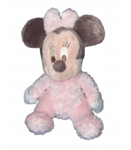 Doudou Peluche MINNIE rose clair - Disneyland Paris - Grelot - Longs poils H 22 cm