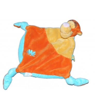 Doudou Plat Tigrou Disney Baby Orange Jaune Bleu Kiabi Nicotoy Fleur 3 noeuds
