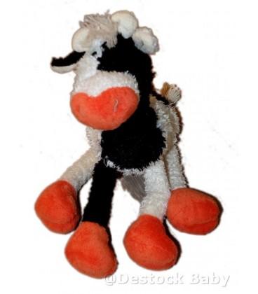 Doudou peluche vache blanche noire orange Trudi 30 cm