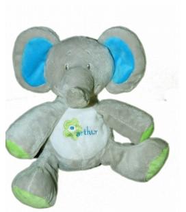 Doudou peluche éléphant gris vert bleu - Bébisol - Arthur et Lola Assis 20 cm