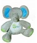 Doudou peluche elephant gris vert bleu Bebisol Arthur et Lola 20 cm