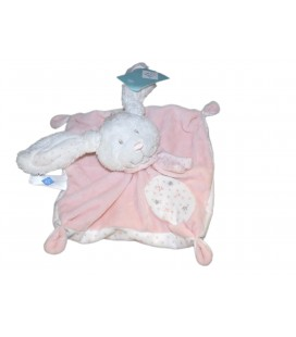 Doudou plat LAPIN rose blanc Etoiles - TEX Baby Carrefour