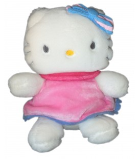 Peluche HELLO KITTY - Robe Rose - Noeud bleu - Sanrio Smiles - H 20 cm