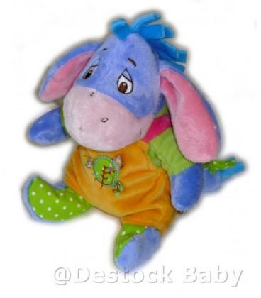 Doudou Bourriquet Orange bleu vert 22 cm DISNEY Baby Nicotoy