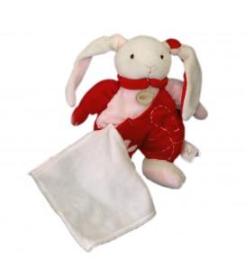 Peluche doudou Lapin blanc rose rouge - Fleur 25 cm Babynat