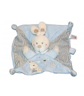 Doudou plat lapin bleu ABC Attache sucette raye marron NICOTOY Simba 579/6637