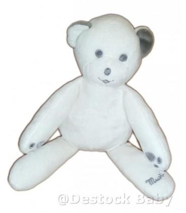 Doudou ours gris blanc gris yeux gris Musti de Mustela 25 cm