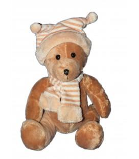 Doudou peluche OURS marron beige AFIBEL - Bonnet Echarpe - Assis H 22 cm