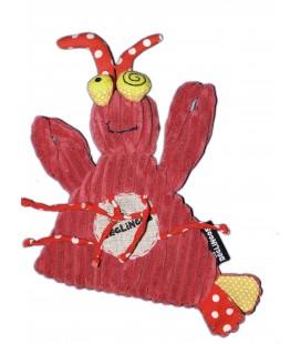 Doudou plat HOMARD Crabe Rouge Bordeaux LES DEGLINGOS