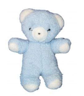 VINTAGE - Peluche OURS bleu blanc - NOUNOURS - H 22 cm