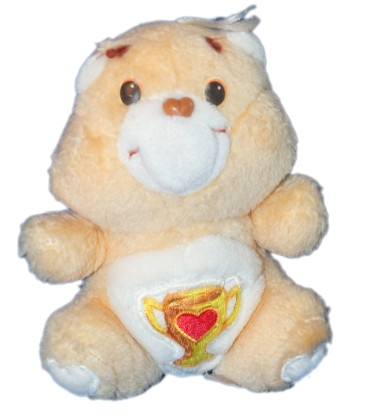 Peluche BISOUNOURS Care bear Plush - Groschampion Champ Bear Coupe - H 16 cm - Kenner 6269