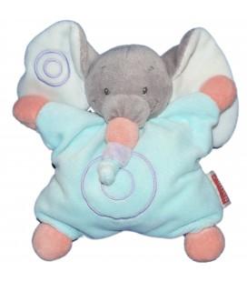Doudou coussin semi plat - ELEPHANT bleu gris - NATTOU Jollymex - Grelot
