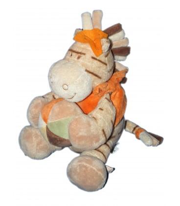 Peluche doudou CHEVAL ZEBRE beige orange - NOUKIES - H 22 cm