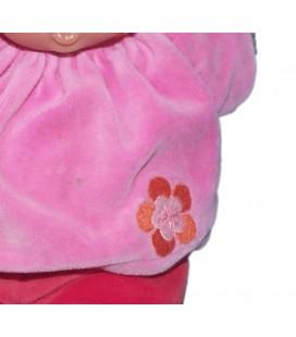 Doudou poupée Poupon Babipouce Babypouce COROLLE rouge rose fleur - 30 cm Babicorolle 2007