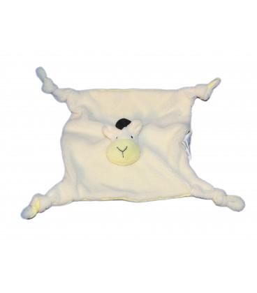 Doudou plat CHEVAL jaune saumon clair - BABOU - 4 noeuds - Revers tissu