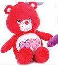Peluche BISOUNOURS rouge 2 coeurs - Always There Bear - H 22 cm - CARE BEARS