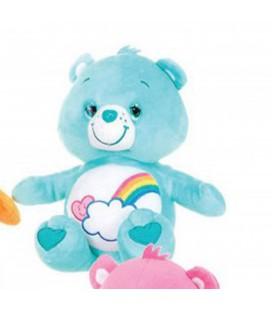Peluche BISOUNOURS bleu Arc en ciel - Bashfull Heart Bear - Ours au coeur timide - H 26 cm - CARE BEARS