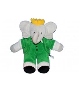 Peluche Doudou Elephant BABAR Gris vert LANSAY 36 cm